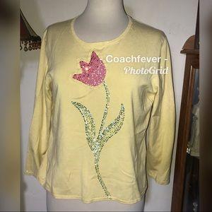 MICHAEL SIMON Embellished Knit Top Silk Blend L